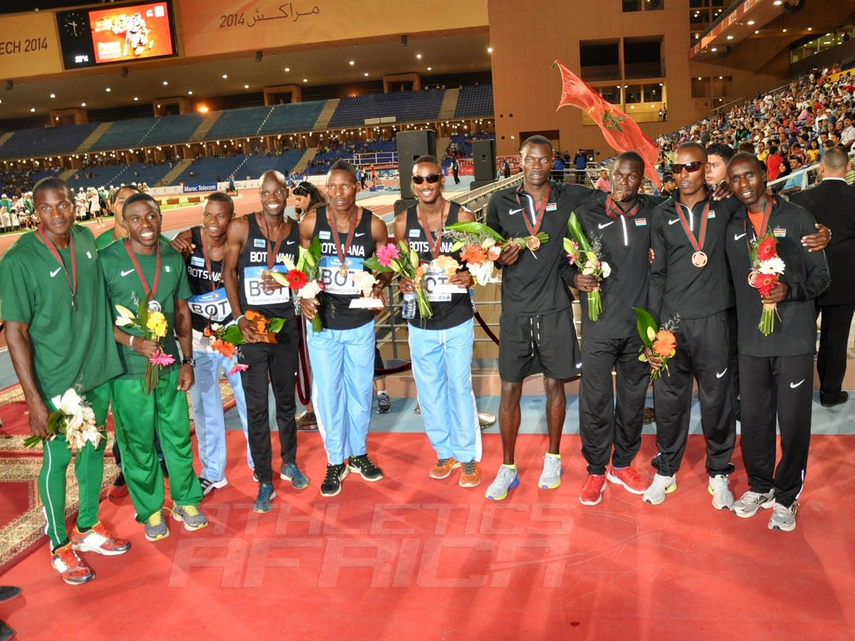 4x400m men's podium / Photo credit: Yomi Omogbeja