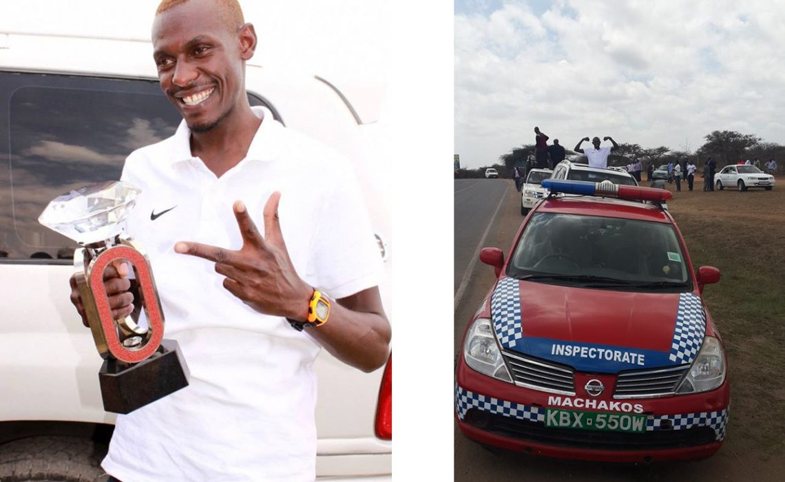 Caleb Mwangangi Ndiku shows off his Diamond Race trophy on his ultimate homecoming welcome party yesterday in Machakos, Kenya.