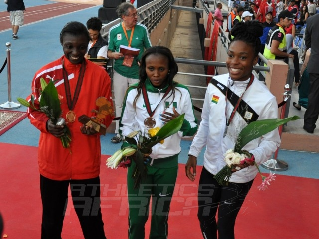 Joelle Mbumi Nkouindjin - Blessing Ibrahim - Nadia Eke - Triple jump women / Photo credit: Yomi Omogbeja