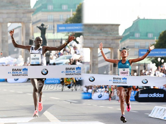 Dennis Kimetto and Tirfi Tsegaye in Berlin 2014 / Photo credit: Photorun