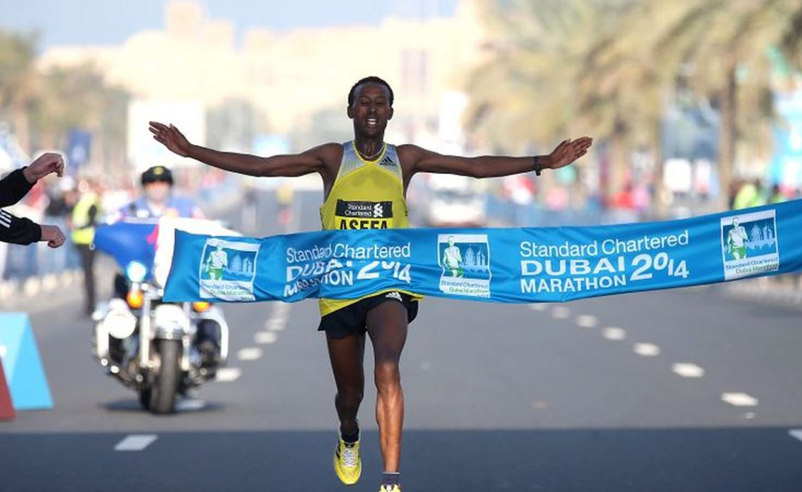 Tsegaye Mekonnen winning the Dubai Marathon in January / Photo credit: Photorun.net