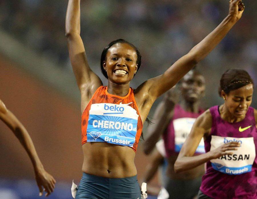 Kenya's Mercy Cherono withstood the challenge from 2014 world indoor champion Genzebe Dibaba to win the women's 3000m Diamond Race / Photos: © Gladys Chai von der Laage - IAAF Diamond League