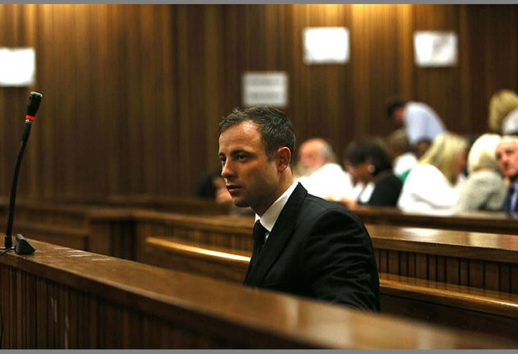 Oscar Pistorius in the dock at his Trial in Pretoria / Photo credit: Alon Skuy/Times Media Group