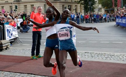 The women's finish with winner Joyce Chepkirui (left) and Emily Chebet. Photo credit: BERLIN RUNS / Action Photo