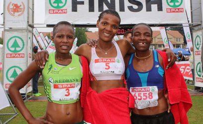 The top three SPAR Women's Challenge winners at the Joburg leg. (L-R): Rutendo Nyahora (2nd); Lebogang Phalula (1st); and Mamorallo Tjoka (3rd).