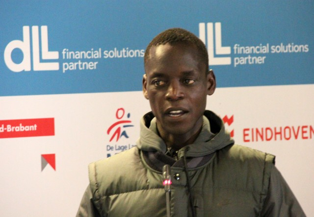 Kenyan Leonard Komon at the 2014 De Lage Landen Marathon Eindhoven Press Conference on Thursday October 9, 2014 - Photo credit: Organisers / Ad Hoeks