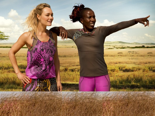 Lornah Kiplagat and friend model her own apparel brand wear - 'Lornah' for active women / Photo Credit: Lornahsports.com