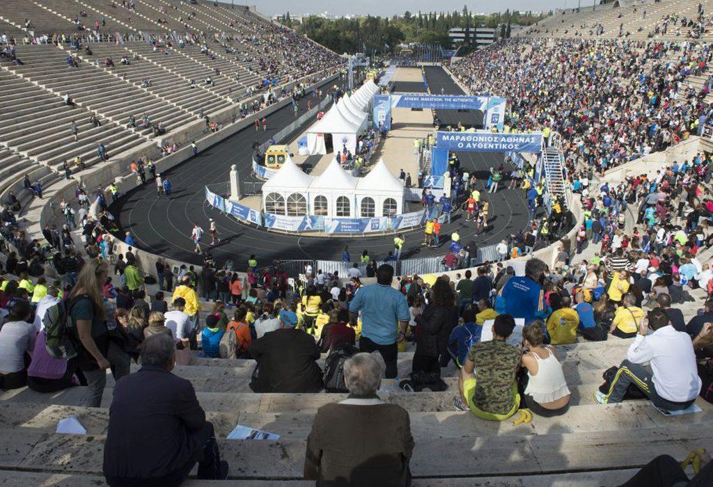 The finish point in the historic Panathenaikon Stadium in Athens / Photo credit: Athens Marathon. The Authentic