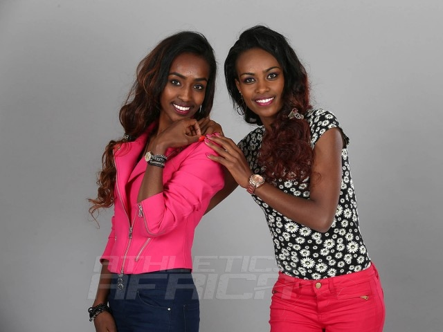 Genzebe Dibaba and her sister Anna ahead of the World Athletics Gala in Monaco on Thursday Nov 20, 2014 / Photo credit: IAAF / Giancarlo Colombo