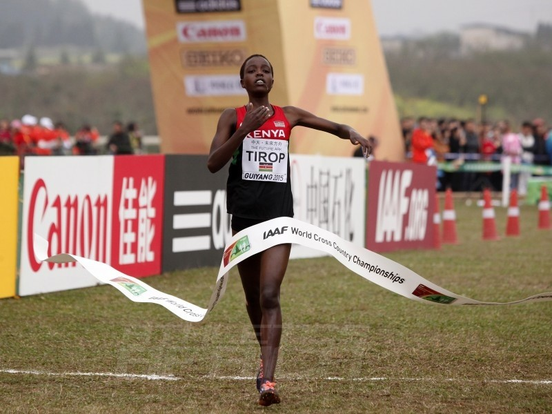 Senior Race women's winner Agnes Jebet Tirop of Kenya at the IAAF World Cross Country Championships, Guiyang 2015 / Photo credit: © Getty Images for IAAF