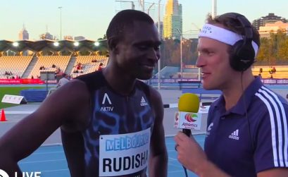 David Rudisha after winning the men's 800m at the 2015 IAAF Melbourne World Challenge.