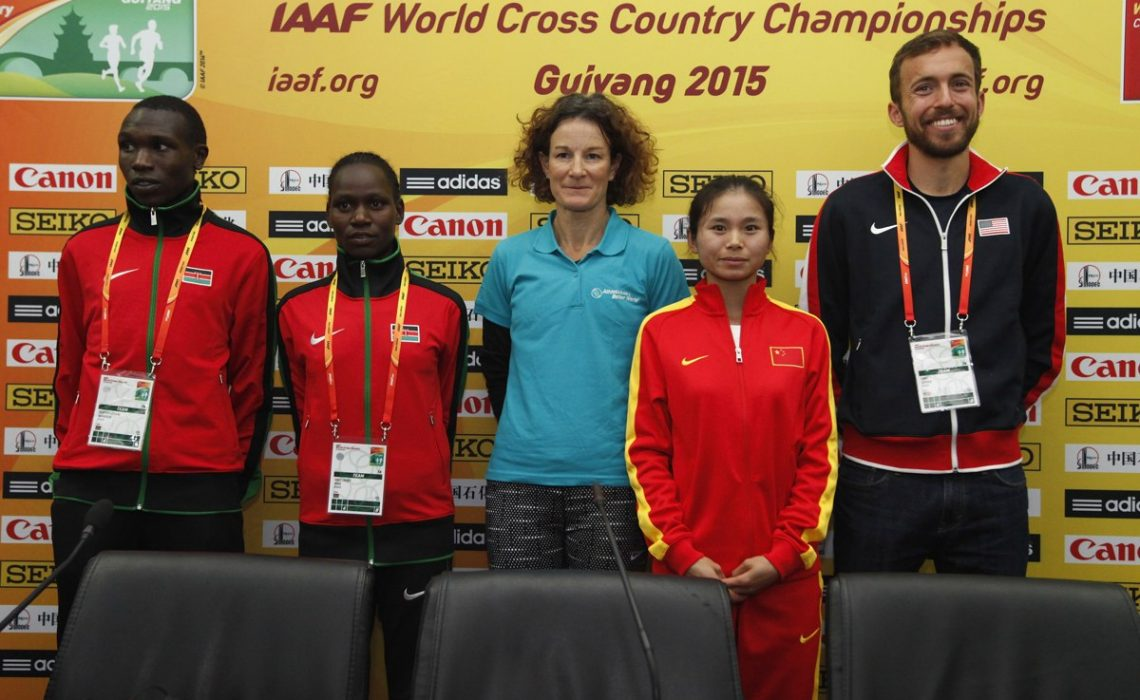 Guiyang 2015: Kenyan Emily Chebet, Geoffrey Kamworor, USA's Chris Derrick and Sonia O'Sullivan athletes / Photo credit: © Getty Images for IAAF
