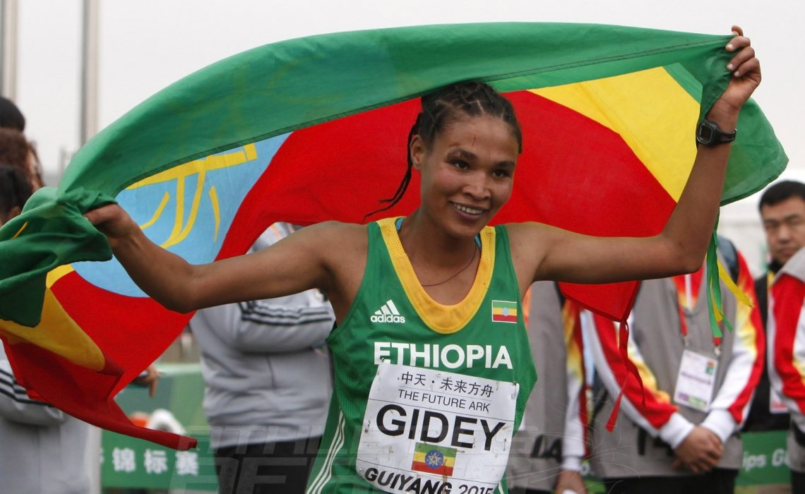 Junior women's winner Letesenbet Gidey at the IAAF World Cross Country Championships, Guiyang 2015 / Photo credit: © Getty Images for IAAF
