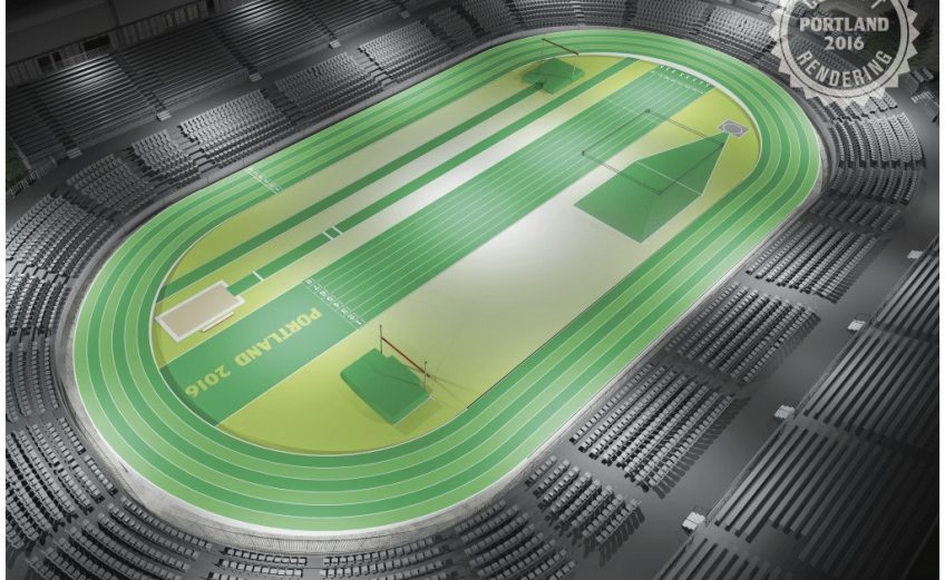 A birds-eye view of what the track and stadium will look like at the Oregon Convention Center in Portland 2016.