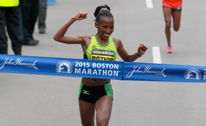 Kenya's Caroline Rotich winning the 2015 Boston Marathon