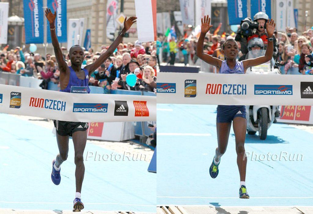 Daniel Wanjiru and Worknesh Degefa winning at the 2015 Sportisimo Prague Half Marathon / Photo Credit: www.photorun.net