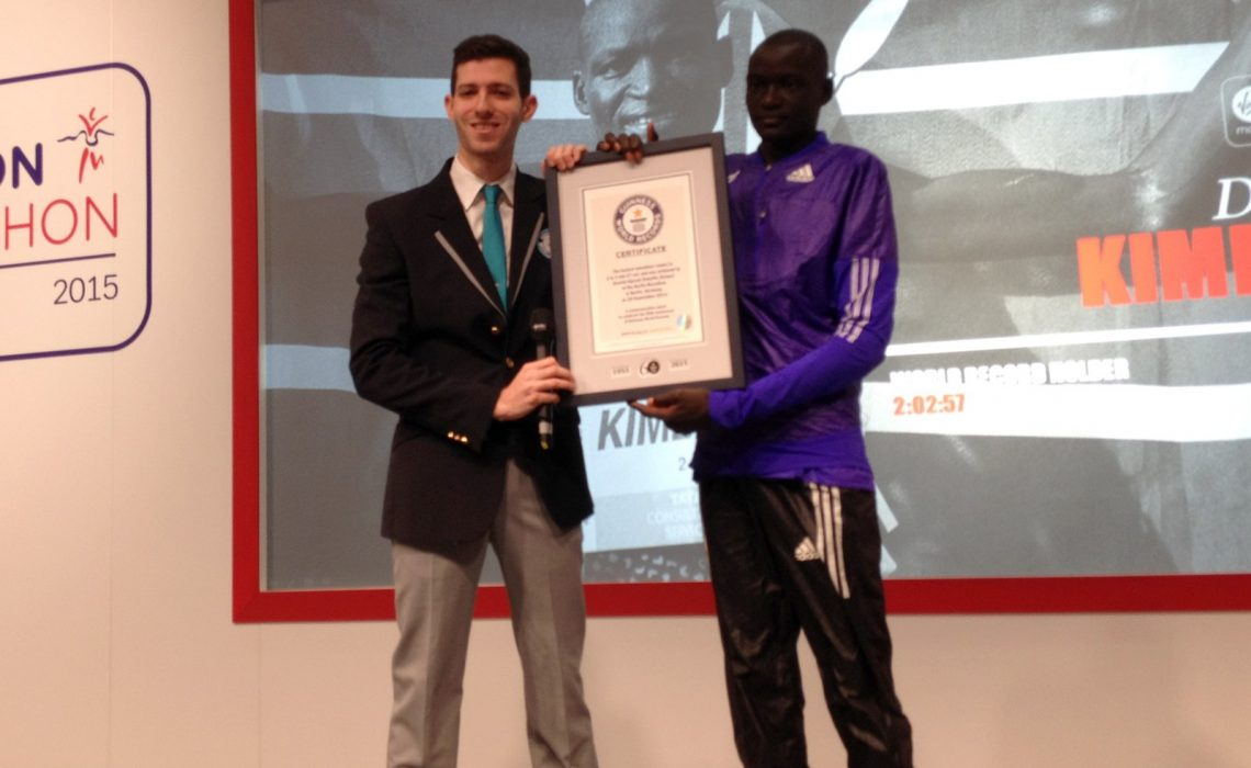 Dennis Kimetto presented with the official Guinness World Records certificate in London on Friday April 24, 2015 / Photo Credit: Yomi Omogbeja - AthleticsAfrica.Com