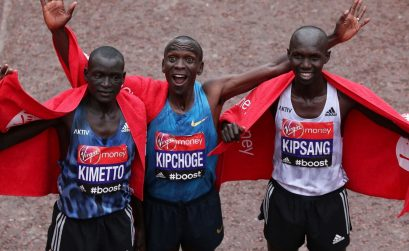 The Kenyan podium at the 35th London marathon
