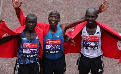 The Kenyan podium at the 35th London marathon