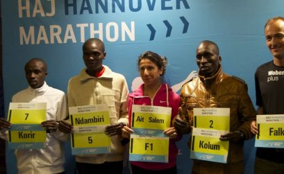 Ronald Korir, Josphat Ndambiri, Souad Ait Salem, Benjamin Kolum and Falk Cierpinski (from left to right) during a press conference in Hannover. Photo Credit: Cecilia Wenig / HAJ Marathon Hannover