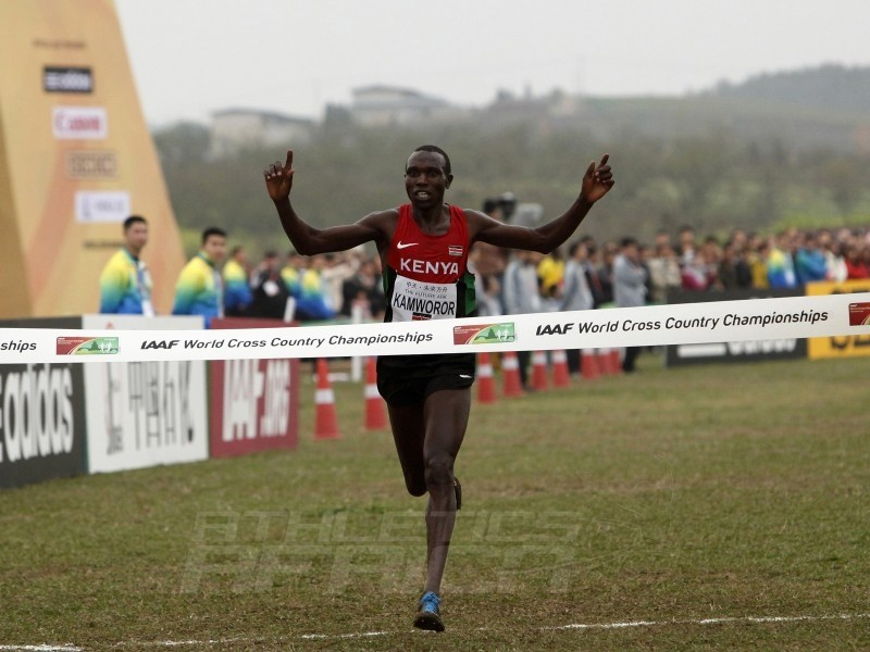 Senior Men race winner Geoffrey Kipsang Kamworor of Kenya at the IAAF World Cross Country Championships, Guiyang 2015 / Photo credit: © Getty Images for IAAF
