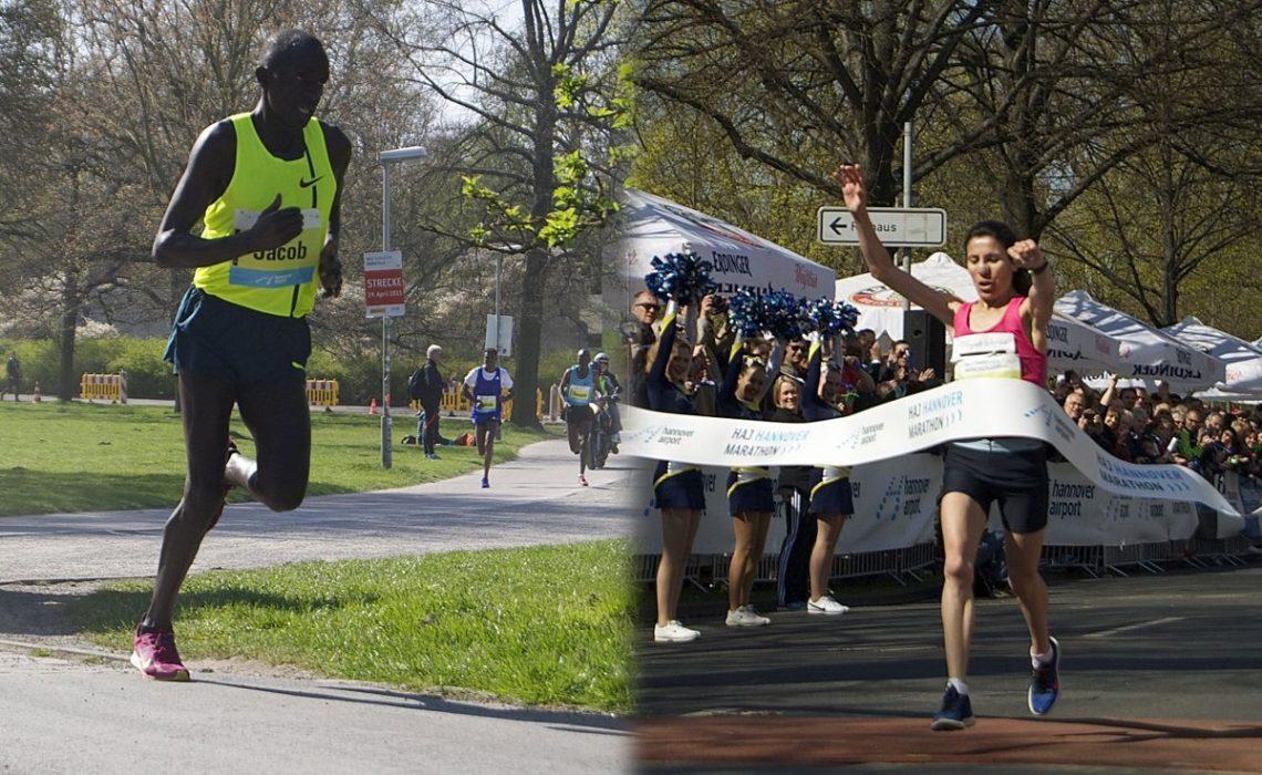 Cheshari Jacob and Souad Ait Salem won the 25th edition of the HAJ Hannover Marathon on Sunday. Photo Credit: Cecilia Wenig / HAJ Hannover Marathon