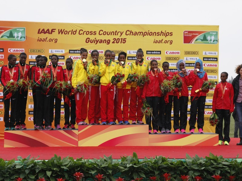 Junior women podium at the IAAF World Cross Country Championships, Guiyang 2015 / Photo credit: © Getty Images for IAAF