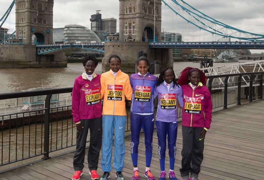 Kenya's fabulous quartet, Edna Kiplagat, Florence Kiplagat, Priscah Jeptoo and Mary Keitany flanks Ethiopian Aselefech Mergia in London. / Credit: Virgin Money London Marathon