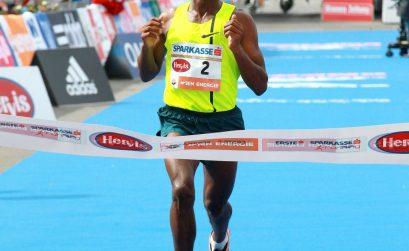 Ethiopian Sisay Lemma winning the Vienna City Marathon 2015 / Photo credit: PhotoRun.net