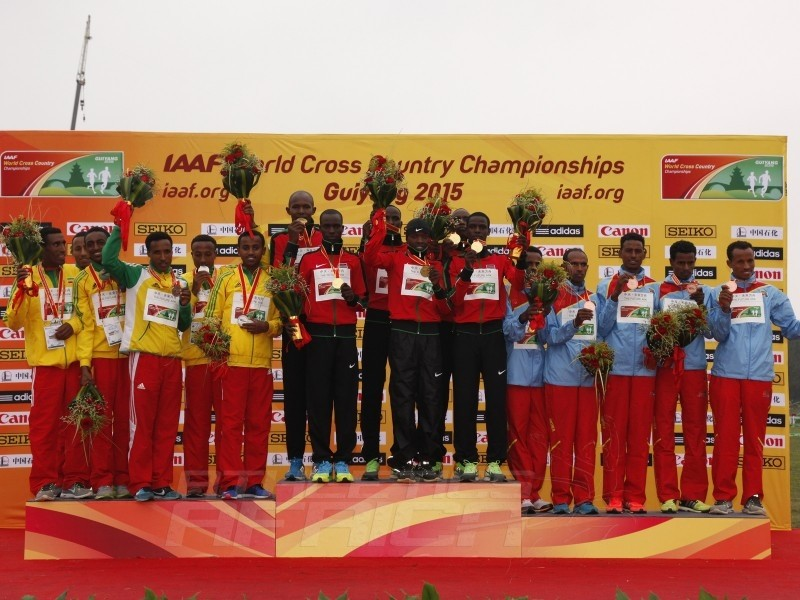 Senior men podium at the IAAF World Cross Country Championships, Guiyang 2015 / Photo credit: © Getty Images for IAAF
