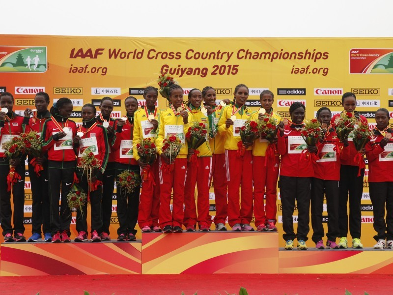 Senior women podium at the IAAF World Cross Country Championships, Guiyang 2015 / Photo credit: © Getty Images for IAAF