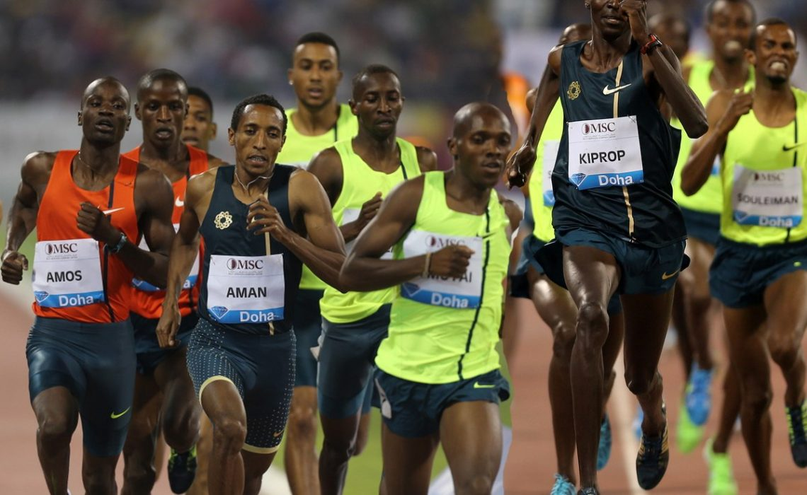 Nijel Amos, Mohammed Aman and Asbel Kiprop in action at the IDL Doha / Photo credit: Organisers