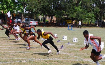 Local Ghanaian athletes compete on a grass track at the 2015 GAA Circuit Championships in Sunyani / Photo credit: Erasmus Kwaw