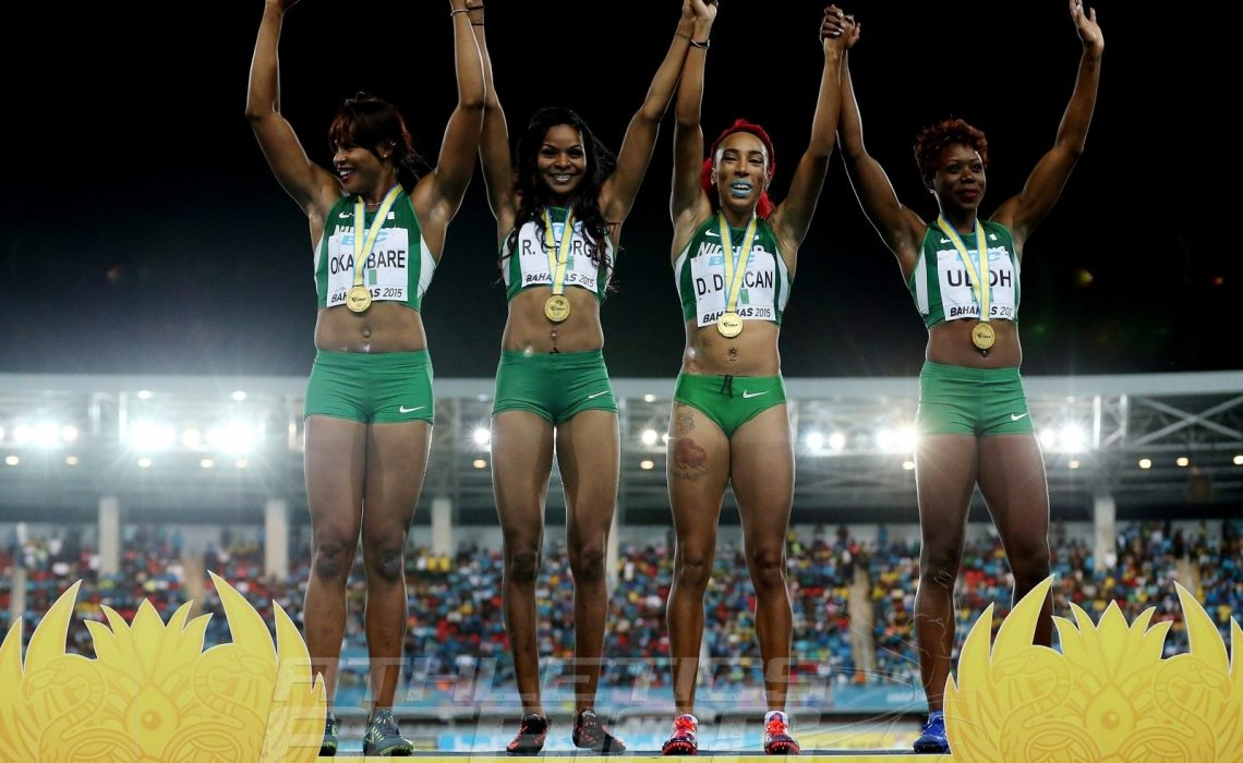 Nigeria, winners of the women's 4x200m at the IAAF/BTC World Relays, Bahamas 2015 Photo Credit: © Getty Images for IAAF