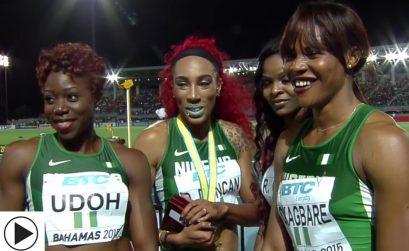 Nigeria, winners of the women's 4x200m at the IAAF/BTC World Relays, Bahamas 2015