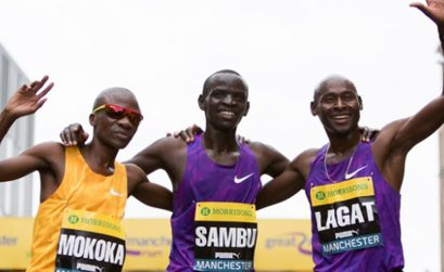 The men's top three - Sambu, Mokoka and Lagat - at the 2015 Morrisons Great Manchester Run / Photo Credit: Great Run