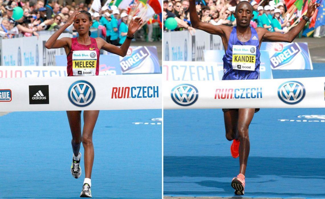 Ethiopian Yebrgual Melese and Kenyan Felix Kandie winning at the 2015 Prague Marathon / Photo credit: Volkswagen Prague Marathon / Victah Sailer