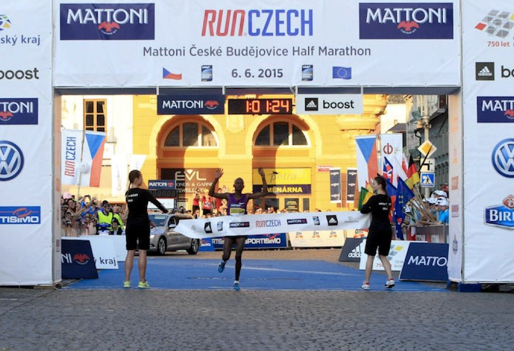 Abraham Cheroben wins in Ceske Budejovice / Photo credit: Mattoni Ceske Budejovice Half Marathon