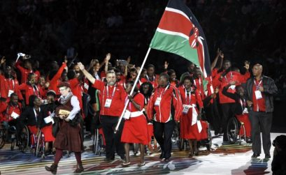 Kenyan athletes in a match past at a major championships