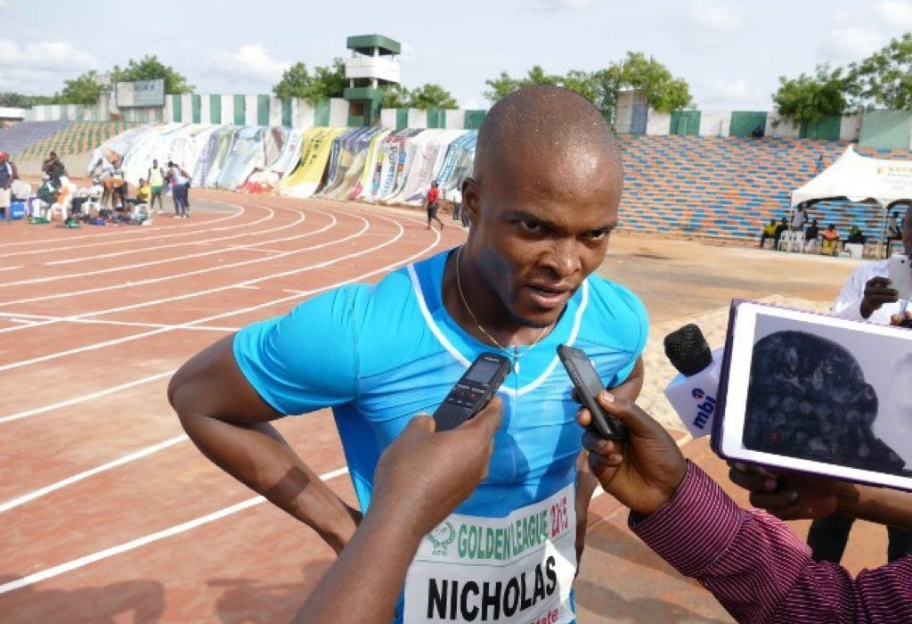 Nicholas Imhoaperamhe speaking with the media after the race in Oba - AFN Golden League 2015 / Photo: Making of Champions