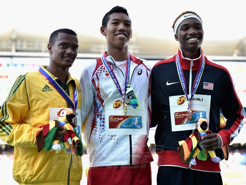 Abdul Hakim Sani Brown of Japan, gold medal, Kyle Appel of South Africa, silver medal, and Josephus Lyles of the USA, bronze medal, celebrate on the podium after winning the Boys 200m Final on day five of the IAAF World Youth Championships, Cali 2015 on July 19, 2015 in Cali, Colombia. (Photo by Buda Mendes/Getty Images for IAAF)