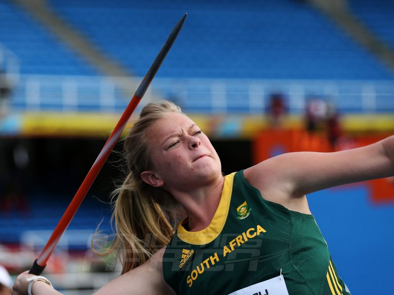 Carli Petri Nieuwenhuizen of South Africa in action during qualification for the Girls Javelin Throw on day one of the IAAF World Youth Championships Cali 2015 on July 15, 2015 at the Pascual Guerrero Olympic Stadium in Cali, Colombia. (Photo by Patrick Smith/Getty Images for IAAF)