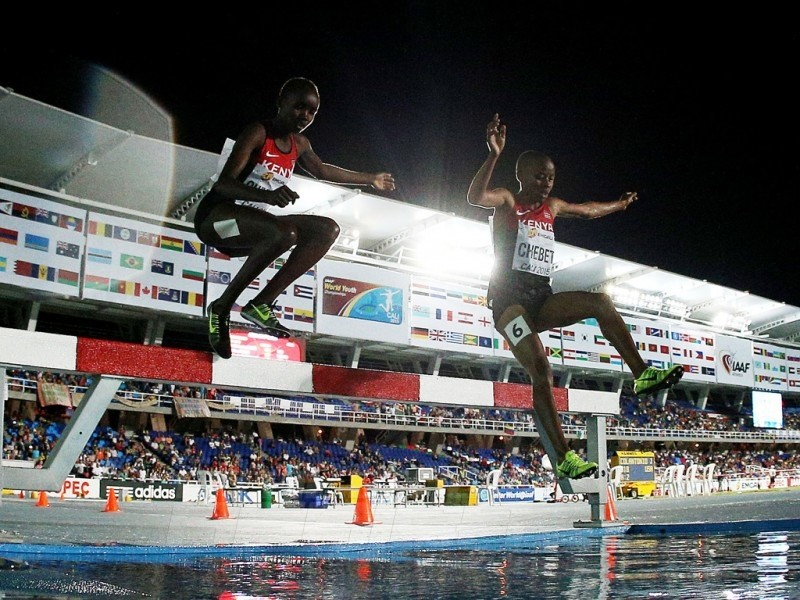 Celliphine Chepteek Chespol and Sandrafelis Chebet Tuei of Kenya in action during the Girls 2000 Meters Steeplechase final on day three of the IAAF World Youth   Championships, Cali 2015 on July 17, 2015 at the Pascual Guerrero Olympic Stadium in Cali, Colombia. (Photo by Patrick Smith/Getty Images for IAAF)