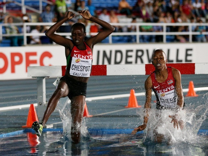 Celliphine Chepteek Chespol and Sandrafelis Chebet Tuei of Kenya in action during the Girls 2000m Steeplechase final on day three of IAAF World Youth Championships, Cali 2015 on July 17, 2015 at the Pascual Guerrero Olympic Stadium in Cali, Colombia. (Photo by Patrick Smith/Getty Images for IAAF)