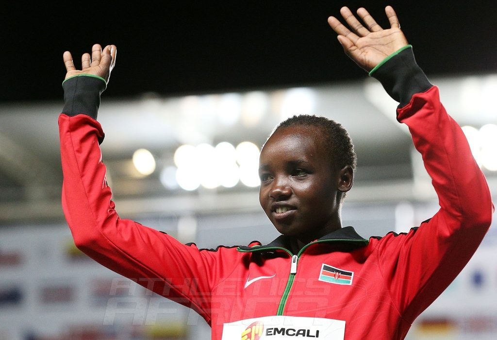 Celliphine Chepteek Chespol of Kenya, gold medal, celebrates on the podium after the Girls 2000m Steeplechase final on day three of the IAAF World Youth Championships, Cali 2015 on July 17, 2015 in Cali, Colombia. (Photo by Patrick Smith/Getty Images for IAAF)