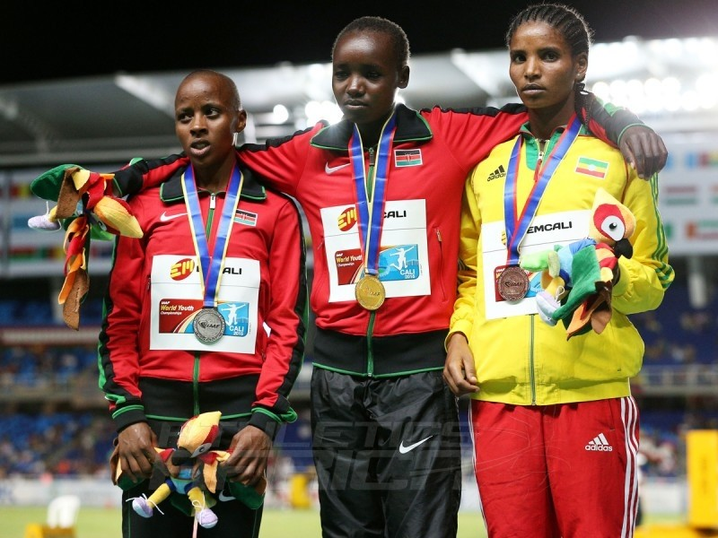 Celliphine Chepteek Chespol of Kenya, gold medal, Sandrafelis Chebet Tuei of Kenya, silver medal, and Agrie Belachew of Ethiopia, bronze medal, celebrate on the podium after the Girls 2000m Steeplechase final on day three of the IAAF World Youth Championships, Cali 2015 on July 17, 2015 in Cali, Colombia. (Photo by Patrick Smith/Getty Images for IAAF)