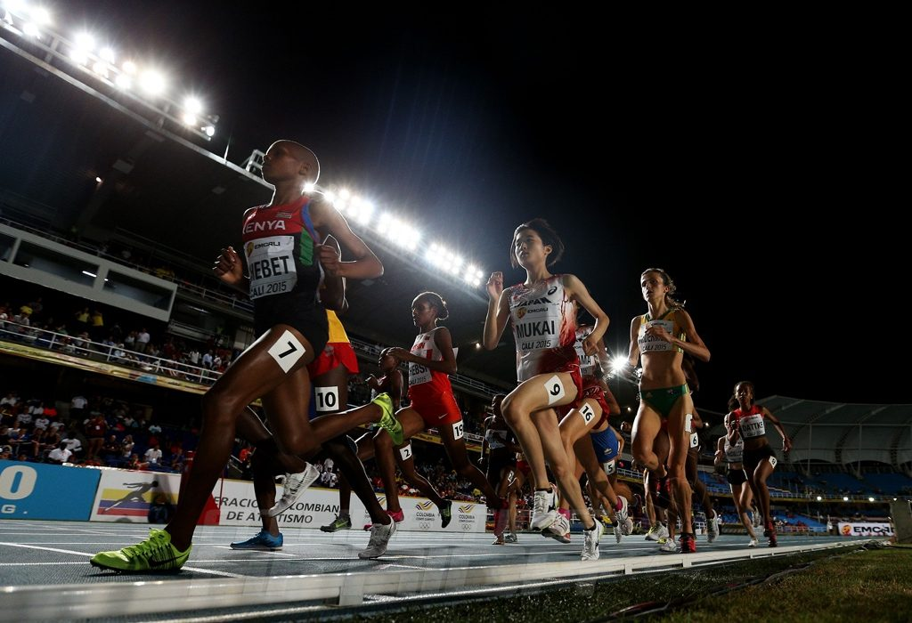 Emily Chebet Kipchumba of Kenya in action during the Girls 3000 Meters Final on day one of the IAAF World Youth Championships, Cali 2015 on July 15, 2015 at the Pascual Guerrero Olympic Stadium in Cali, Colombia. (Photo by Patrick Smith/Getty Images for IAAF)