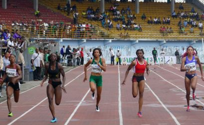 Ghana's Flings Owusu-Agyapong leads in the women's 100m race at the 2015 Warri Relays/CAA Grand Prix at the Warri Township Stadium in Nigeria / Photo: Making of Champions