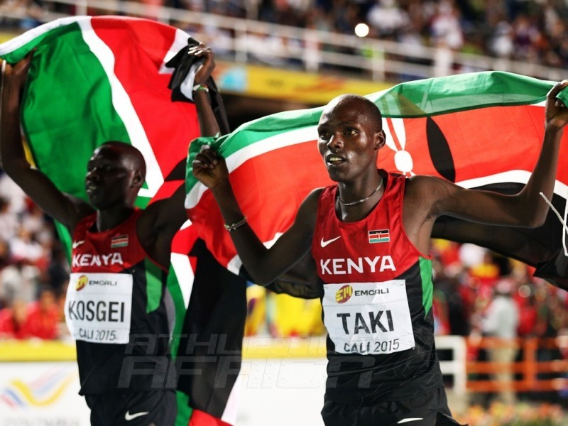 Kumari Taki and Lawi Kosgei of Kenya celebrates after the Boys 1500m Final on day three of the IAAF World Youth Championships, Cali 2015 on July 17, 2015 at the Pascual Guerrero Olympic Stadium in Cali, Colombia. (Photo by Patrick Smith/Getty Images for IAAF)