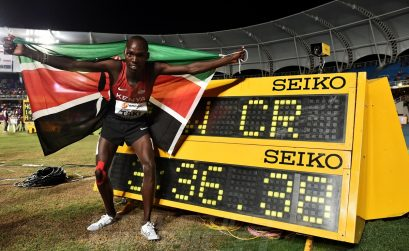 Kumari Taki of Kenya celebrates after winning the Boys 1500 Meters Final on day three of the IAAF World Youth Championships, Cali 2015 on July 17, 2015 at the Pascual Guerrero Olympic Stadium in Cali, Colombia. (Photo by Buda Mendes/Getty Images for IAAF)